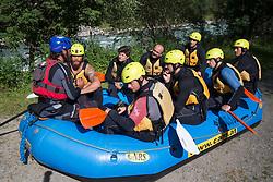 14.07.2015, Ainet, AUT, Eishockey Cracks bei Raftingtour auf der Isel, im Bild Thomas Raffl (EC Red Bull Salzburg, EBEL), Skirennläuferin Edit Miklos (HUN), <br /> Michael Raffl (Philadelphia Flyers, NHL // Hockey Cracks during a rafting tour on the East Tyrolean glacial river Isel Ainet, Austria on 2015/07/14. EXPA Pictures © 2015, PhotoCredit: EXPA/ Johann Groder
