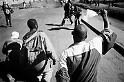 NAIROBI, KENYA - DECEMBER 31, 2007: Protesters gather to march in support of the Orange Democratic Movement. A surge in violence left scores of people dead in Nairobi as defeated presidential candidate Raila Odinga prepared to declare himself head of state, after rejecting the victory of incumbent president Mwai Kibaki.
