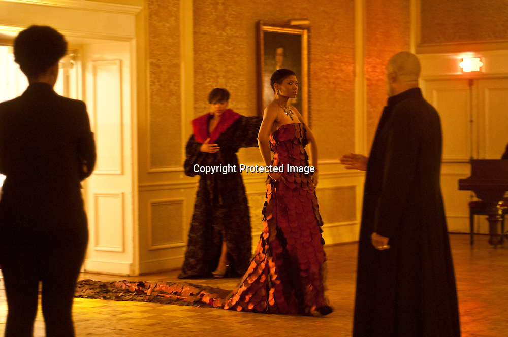 Models wait backstage during the Corjor International Fashion show at The Washington Club.