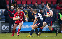 Dan Thomas of Bristol Rugby takes on Cameron Cowell of Doncaster Knights - Mandatory by-line: Robbie Stephenson/JMP - 02/12/2017 - RUGBY - Castle Park - Doncaster, England - Doncaster Knights v Bristol Rugby - Greene King IPA Championship