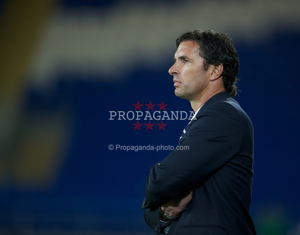CARDIFF, WALES - Wednesday, August 10, 2011: Wales' manager Gary Speed MBE during an International Friendly match against Australia at the Cardiff City Stadium. (Photo by David Rawcliffe/Propaganda)