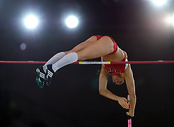 Jennifer Suhr of the United States competes during the Women's Pole Vault Final during day one of the IAAF World Indoor Championships at Oregon Convention Center in Portland, Oregon, the United States, on March 17, 2016. Suhr won the champion with 4.9 meters. EXPA Pictures © 2016, PhotoCredit: EXPA/ Photoshot/ Yin Bogu<br /> <br /> *****ATTENTION - for AUT, SLO, CRO, SRB, BIH, MAZ, SUI only*****