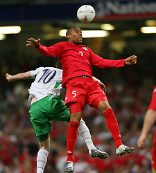 CARDIFF, WALES - Wednesday, September 8, 2004: Wales' Daniel Gabbidon and Northern Ireland's James Quinn during the Group Six World Cup Qualifier at the Millennium Stadium. (Pic by David Rawcliffe/Propaganda)