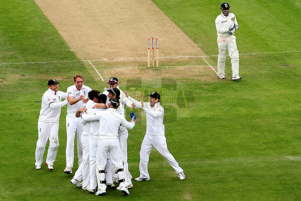 James Anderson and England celebrate the wicket of Virender Sehwag during day three of the third test match between England and India held at Edgbaston Cricket ground in Birmingham on the 12th August 2011...Photo by Ron Gaunt/SPORTZPICS/BCCI