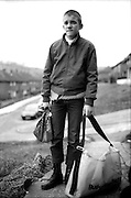 Neville doing the Paper Round, Hawthorne Road, High Wycombe, UK, 1980s.