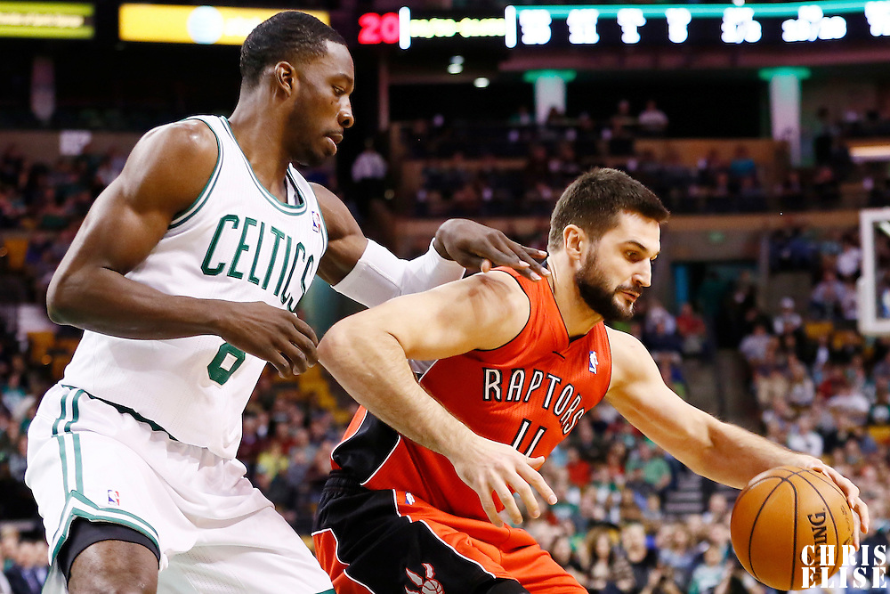 17 November 2012: Boston Celtics power forward Jeff Green (8) defends on Toronto Raptors small forward Linas Kleiza (11) during the Boston Celtics 107-89 victory over the Toronto Raptors at the TD Garden, Boston, Massachusetts, USA.