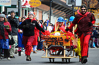 Exuberant racers in the annual Bed Races, Bar Harbor, Maine