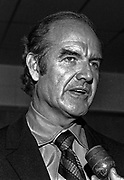 US Senator George S. McGovern Democrat from South Dakota visited Modesto, California to hold a Hearings of the US Senate select committee on nutrition and human needs on March 23, 1970.  Hearing subject was the Modesto Board of Education's decision to withdraw from the National School Lunch Program.  Over 200 persons crowed into the King-Kennedy Memorial Center on Modesto's West Side to hear different viewpoints. McGovern speaks to Press.   Photo by Al Golub