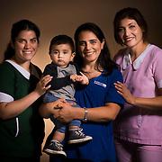 Elizabeth Quiero, Ximena Nuñez, Carlos Ortiz y Karina Diaz. Asociación Chilena de Seguridad ACHS. Santiago de Chile, 05-05-15 (©Alvaro de la Fuente/Triple.cl)