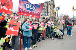 Members PCS union hold a rally outside Nick Cleggs Constituency Office, to raise awareness of the fact that this month will see the first  increased contributions coming out of their salaries to pay for the changes to public sector pensions. It is the first in a series of hands off our pensions red card protest outside key ministerial constituencies over the Easter recess...http://www.pauldaviddrabble.co.uk.14 April 2012 .Image © Paul David Drabble