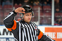 KELOWNA, BC - NOVEMBER 6:  Referee Mark Pearce stands on the ice at the Kelowna Rockets against the Victoria Royals at Prospera Place on November 6, 2019 in Kelowna, Canada. (Photo by Marissa Baecker/Shoot the Breeze)
