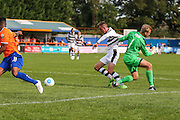 Braintree Town's goalkeeper Will Puddy(1) pulls back Forest Green Rovers Elliott Frear (11), no penalty given during the Vanarama National League match between Braintree Town and Forest Green Rovers at the Amlin Stadium, Braintree, United Kingdom on 24 September 2016. Photo by Shane Healey.