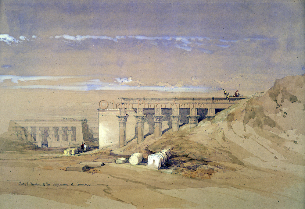 Lateral Elevation of the Thyphonium at Dendera'.; lithograph after watercolour by David Roberts (1796-1864) Scottish artist. Ancient Egypt Archaeology