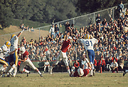 COLLEGE FOOTBALL: Stanford v Cal, Nov 22, 1974 at Stanford Stadium in Palo Alto, California.  Guy Benjamin #7 attempts a pass.