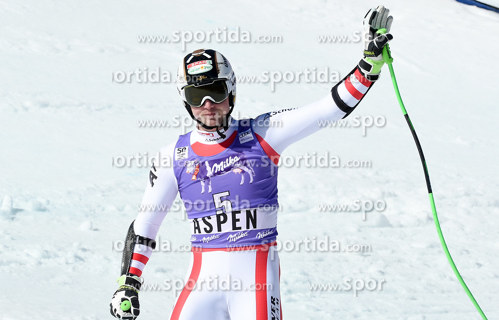 16.03.2017, Aspen, USA, FIS Weltcup Ski Alpin, Finale 2017, SuperG, Herren, Siegerehrung, im Bild Hannes Reichelt (AUT, Sieger und 2.Platz Super G Weltcup) // Winner of the Race and second Place Supe G World CupHannes Reichelt of Austria during the winner award ceremony for the men's Super-G of 2017 FIS ski alpine world cup finals. Aspen, United Staates on 2017/03/16. EXPA Pictures © 2017, PhotoCredit: EXPA/ Erich Spiess