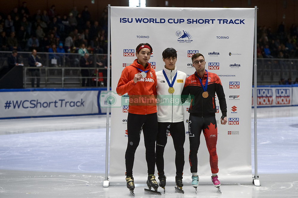 February 9, 2019 - Torino, Italia - Foto LaPresse/Nicolò Campo .9/02/2019 Torino (Italia) .Sport.ISU World Cup Short Track Torino - Men 500 meters Final A .Nella foto: Shaolin Sandor Liu, Dae Heon Hwang, Cedrik Blais ..Photo LaPresse/Nicolò Campo .February 9, 2019 Turin (Italy) .Sport.ISU World Cup Short Track Turin - Men 500 meters Final A.In the picture: Shaolin Sandor Liu, Dae Heon Hwang, Cedrik Blais (Credit Image: © Nicolò Campo/Lapresse via ZUMA Press)