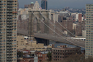 New York. elevated view on Brooklyn bridge  New York - United states /  le pont de Brooklyn  New York - Etats-unis