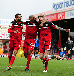 Bristol City's Jon Stead celebrates with Bristol City's Marvin Elliott and Bristol City's Liam Fontaine - Photo mandatory by-line: Joe Meredith/JMP - Tel: Mobile: 07966 386802 23/02/2013 - SPORT - FOOTBALL - Ashton Gate - Bristol -  Bristol City V Barnsley - Npower Championship