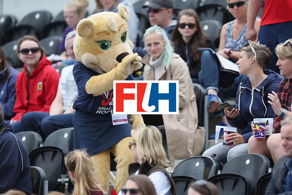 LONDON, ENGLAND - JUNE 18:  The Tournament mascot engaging with fans during the FIH Women's Hockey Champions Trophy match between USA and Australia at Queen Elizabeth Olympic Park on June 18, 2016 in London, England.  (Photo by Alex Morton/Getty Images)