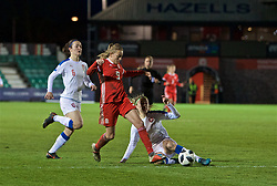 NEWPORT, WALES - Thursday, April 4, 2019: Wales' Kayleigh Green is tackled by Czech Republic's Simona Necidova during an International Friendly match between Wales and Czech Republic at Rodney Parade. (Pic by David Rawcliffe/Propaganda)
