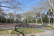 Volleyball and basketball courts north of the Great Lawn in Central Park.