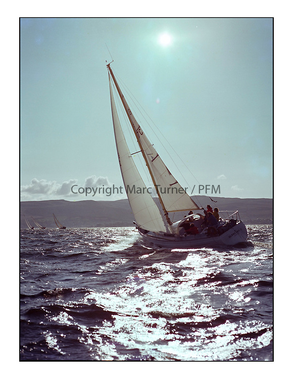 The Clyde Cruising Club's 1977 Tomatin Trophy the first Scottish Series held at Tarbert Loch Fyne.  An overnight race from Gourock to Campbeltown then on to Olympic Triangles in Loch Fyne. ..647C, Glencora II owned by JL Holms at the start of the offshore