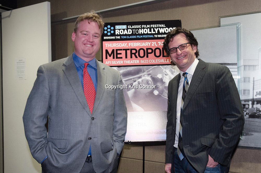 (L-R)Scott Mcghee and Ben Mankiewicz pose for a photo during the METROPOLIS Screening at the AFI Sliver Theatre in Silver Spring, Md on February 21, 2013. Photo by Kris Connor/Allied-THA