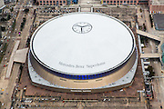 aerial view of the Mercedes-Benz Superdome in downtown New Orleans