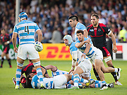 Gloucester, Great Britain, Puma's Scrum Half, Tomas CUBELLI, passing the out ,     during the Argentina vs Georgia, Pool C. game. 2015 Rugby World Cup, Venue. Kingsholm Stadium. England, Friday - 25/09/2015 <br /> [Mandatory Credit; Peter Spurrier/Intersport-images]