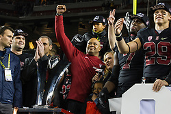 SANTA CLARA, CA - DECEMBER 05:  Head coach David Shaw of the Stanford Cardinal is presented with the championship trophy after the Pac-12 Championship game against the USC Trojans at Levi's Stadium on December 5, 2015 in Santa Clara, California. The Stanford Cardinal defeated the USC Trojans 41-22. (Photo by Jason O. Watson/Getty Images) *** Local Caption *** David Shaw