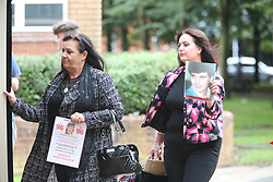 © Licensed to London News Pictures. 09/08/2017. Warrington, UK. Hillsborough family members Donna miller & michelle miller arrive at Warrington magistrates court. Norman Bettison, Donald Denton, Peter Metcalf, Alan Foster & Graham Mackrell are appearing at Warrington Magistrates Court today to face charges relating to the Hillsborough tragedy where 96 people died in 1989. Photo credit: Andrew McCaren/LNP