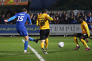 AFC Wimbledon attacker Marcus Forss (15) shoots at goal during the EFL Sky Bet League 1 match between AFC Wimbledon and Southend United at the Cherry Red Records Stadium, Kingston, England on 1 January 2020.