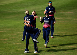 Jenny Gunn of England Women celebrates with Katherine Brunt of England Women as England beat Australia in the Women's World Cup at Bristol - Mandatory by-line: Robbie Stephenson/JMP - 09/07/2017 - CRICKET - Bristol County Ground - Bristol, United Kingdom - England v Australia - ICC Women's World Cup match 19
