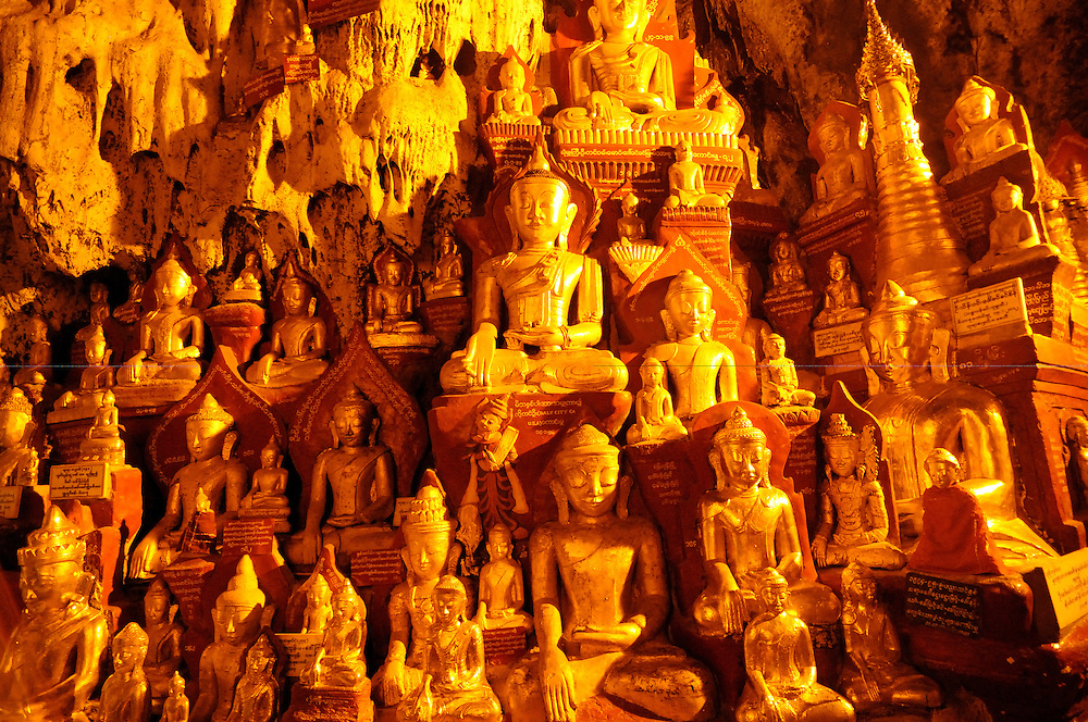 Buddhist caves of Pindaya with its golden Buddhas, Myanmar