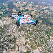 Diego Calderoni flies his Wingsuit over Caldwell Idaho