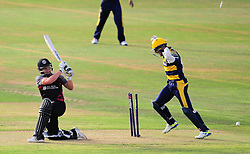 Roelof Van De Merwe is bowled by Colin Ingram.  - Mandatory by-line: Alex Davidson/JMP - 22/07/2016 - CRICKET - Th SSE Swalec Stadium - Cardiff, United Kingdom - Glamorgan v Somerset - NatWest T20 Blast