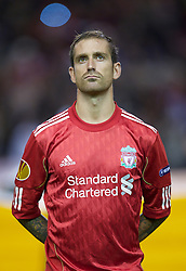 LIVERPOOL, ENGLAND - Thursday, September 16, 2010: Liverpool's Raul Meireles lines-up before the opening UEFA Europa League Group K match against FC Steaua Bucuresti at Anfield. (Photo by David Rawcliffe/Propaganda)
