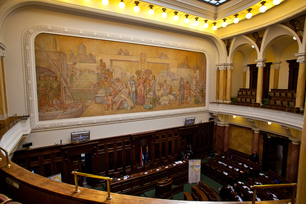Small Assembly Hall in the National Assembly of the Republic of Serbia, Belgrade, Serbia