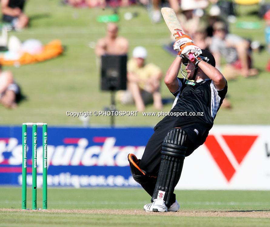 Neil Broom nearly falls over as he plays a shot. New Zealand Black Caps v Bangladesh. 1st ODI. McLean Park, Napier. Friday 05 February 2010  Photo: John Cowpland/PHOTOSPORT