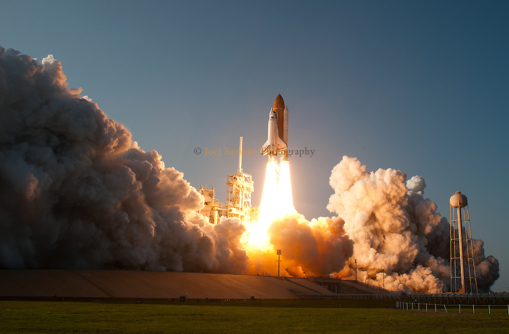 Space shuttle Discovery blasts off from Pad 39A bound for the International Space Station on Thursday afternoon February 24, 2011. STS-133 will deliver the Italian-built Permanent Multipurpose Module and Express Logistics Carrier 4 to the International Space Station.