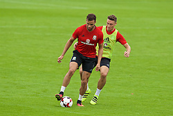 CARDIFF, WALES - Friday, September 2, 2016: Wales' Hal Robson-Kanu and James Chester during a training session at the Vale Resort ahead of the 2018 FIFA World Cup Qualifying Group D match against Moldova. (Pic by David Rawcliffe/Propaganda)