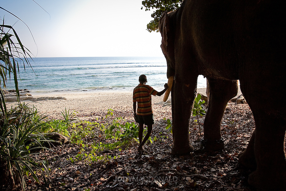 Man and Rajan checking out the swimming possibilities for the day in the Andaman Islands, India