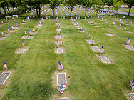 Goshen, New York - A view of the American flags that Minisink Valley High Schol Army JROTC cadets placed by veterans' graves at the Orange County Veteran's Cemetery in preparation for Memorial Day on May 24, 2016.