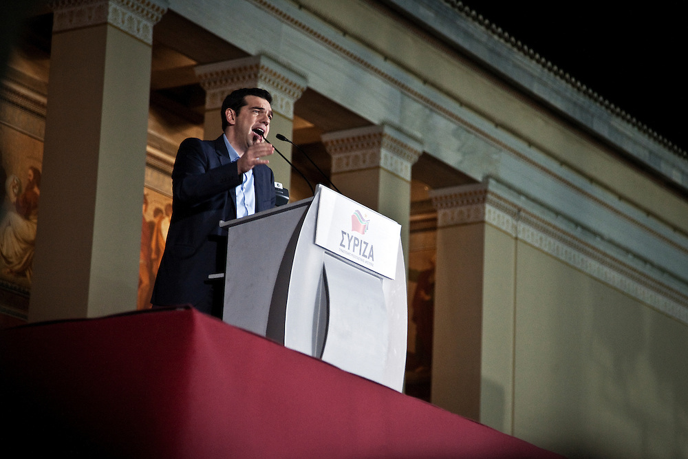 Greece, Athens, January 25th 2015 - Alexis Tsipras delivers a speech at Propylaia after winning the Greek Parliamentary Election.