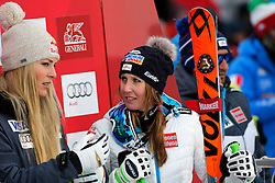 05.12.2015, East Summit Course, Lake Luise, CAN, FIS Weltcup Ski Alpin, Lake Luise, Damen, Abfahrt, Rennen, im Bild v.l. Lindsey Vonn (USA), Cornelia Huetter (AUT, 3. Platz) // winner Lindsey Vonn of the USA ( L ), Cornelia Huetter of Austria ( R ) during the race of ladies downhill of the Lake Luise FIS Ski Alpine World Cup at the East Summit Course in Lake Luise, Canada on 2015/12/05. EXPA Pictures © 2015, PhotoCredit: EXPA/ SM<br /> <br /> *****ATTENTION - OUT of GER*****