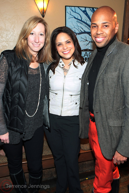 Park City, Utah- January 21: l to r: Keri Putnam, Sundance Institute Director, Soledad O'Brien, News Anchor, and Brickson Diamond, Blackhouse Foundation Executive at ' Dinner with Bevy' honoring Jesse Williams and Rashida Jones presented by Moet & Chandon and The Blackhouse Foundation held at Blackhouse on January 21, 2012 in Park City, Utah. Photo Credit: Terrence Jennings