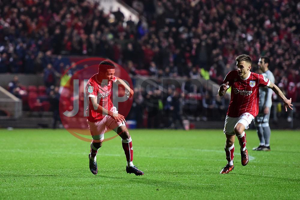 Korey Smith of Bristol City celebrates the winning goal  - Mandatory by-line: Joe Meredith/JMP - 20/12/2017 - FOOTBALL - Ashton Gate Stadium - Bristol, England - Bristol City v Manchester United - Carabao Cup Quarter Final
