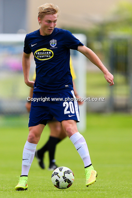 Auckland City's Harry Bolton-Roberts attempts to control the ball. ASB Youth League, Auckland City v Waitakere United, Kiwitea Street, Auckland, Sunday 21st November 2014. Photo: David Joseph / www.photosport.co.nz
