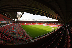 The view of the Anfield pitch from the Anfield Road Upper Stand, centre of Block 228.