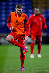 Liverpool's Steven Gerrard warms up before the game - Photo mandatory by-line: Matt McNulty/JMP - Mobile: 07966 386802 - 04/02/2015 - SPORT - Football - Bolton - Macron Stadium - Bolton Wanderers v Liverpool - FA Cup - Fourth Round